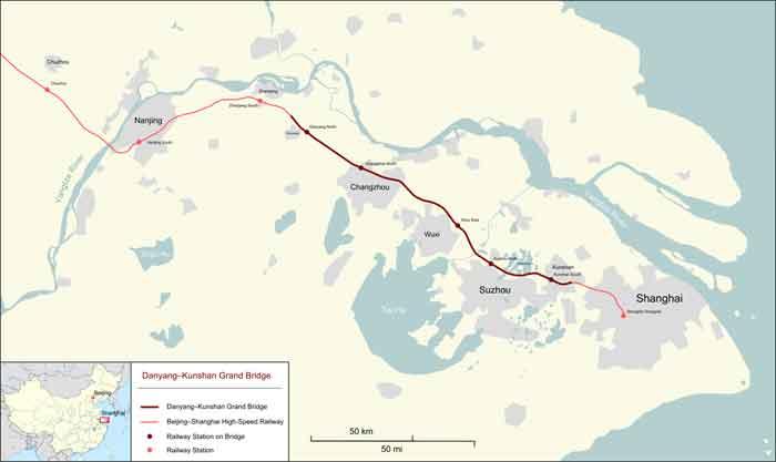 Danyang–Kunshan Burg Langste Spoorbrug ter Wereld